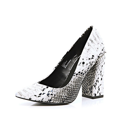 Black and white snake angular court shoes