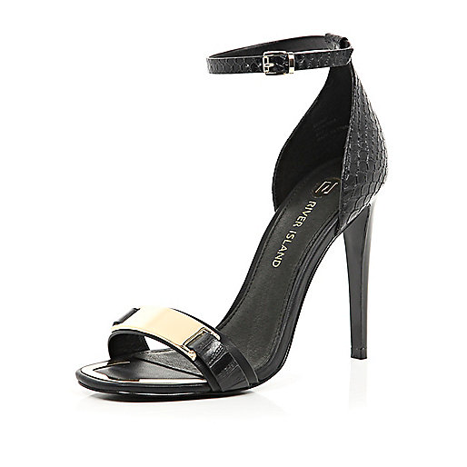 Black metal trim barely there sandals