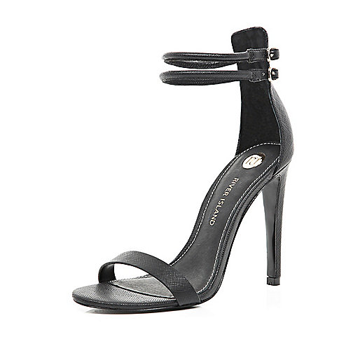 Black double strap barely there sandals