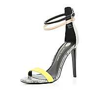 Black colour block barely there sandals