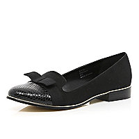Black bow front snake toe cap slipper shoes