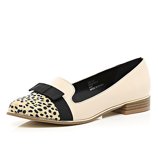 Beige bow front leopard toe cap slipper shoes