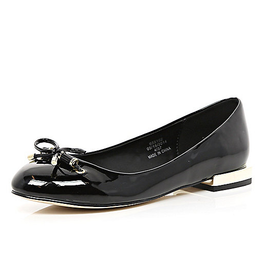 Black patent square heel ballet pumps