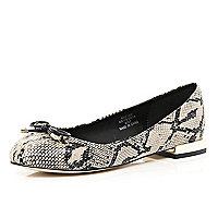 Beige snake print square heel ballet pumps