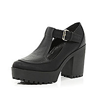 Black chunky cleated sole T bar shoes