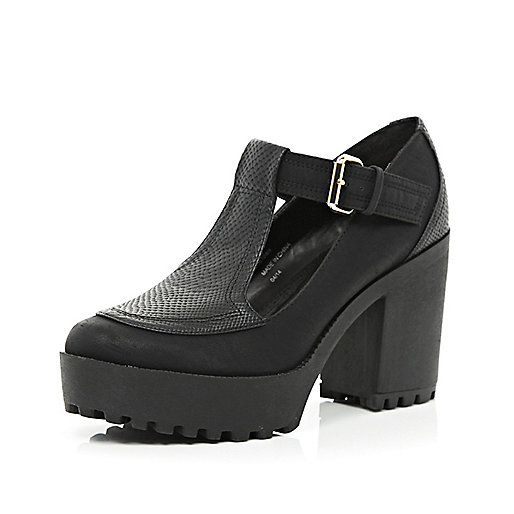 Black chunky cleated sole T-bar shoes - shoes / boots - sale - women