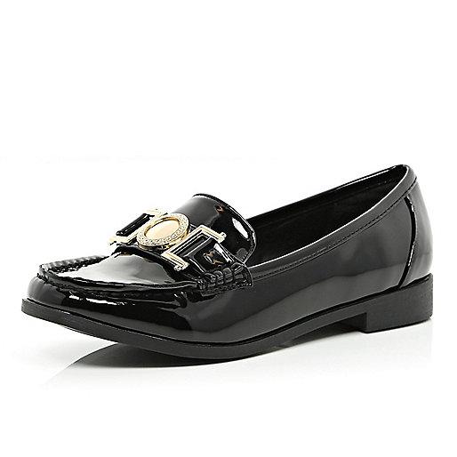 Black patent metal trim loafers