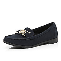 Navy metal trim loafers