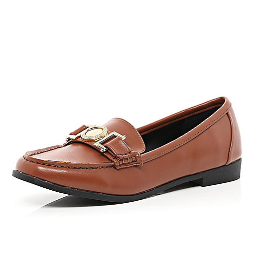 Tan metal trim loafers