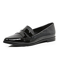 Black patent point loafers