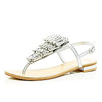 Silver fringed gem stone T bar sandals