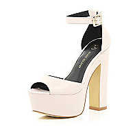 Light pink peep toe platform sandals
