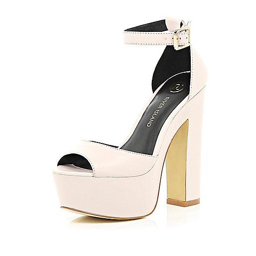 Light pink peep toe platform sandals