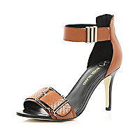 Tan buckle trim barely there sandals