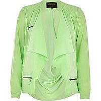 Light green waterfall biker jacket