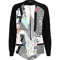 Black abstract print waterfall biker jacket