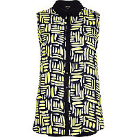 Yellow art print sleeveless shirt