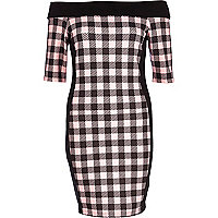 Pink gingham check bardot bodycon dress