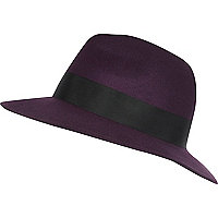 Dark purple fedora hat