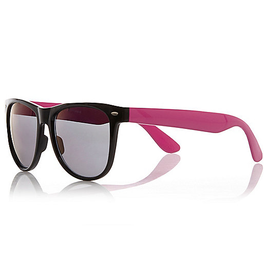 Black colour block retro sunglasses