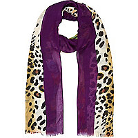 Purple leopard and floral print scarf