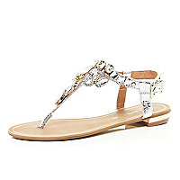 Silver gem embellished t bar sandals