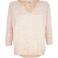 Light pink linen split back top