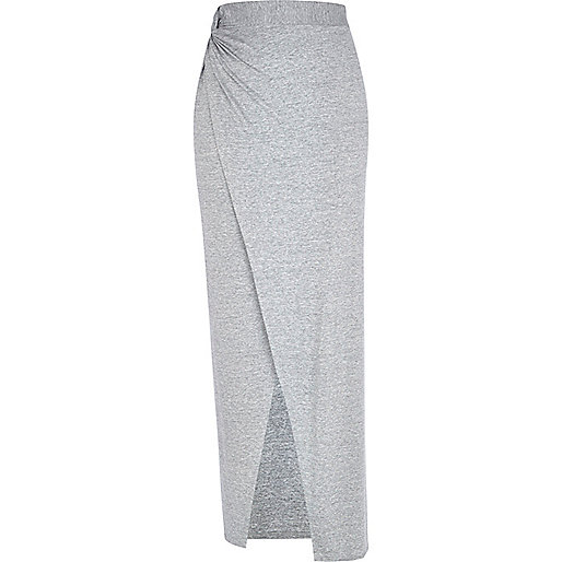 Grey knotted split front maxi skirt