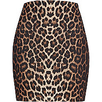 Black animal print tube skirt