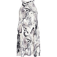 Black and white art print racer front dress