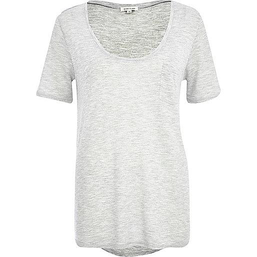 Grey low scoop t-shirt