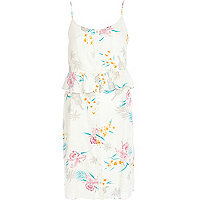 Cream floral frilly cami dress