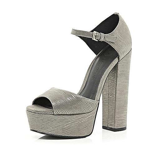 Silver peep toe platforms