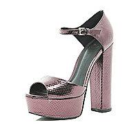 Pink snake peep toe platforms