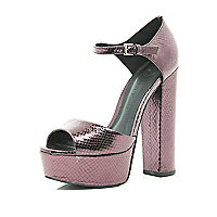 Purple snake peep toe platforms