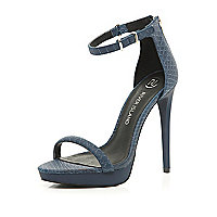 Navy platform barely there sandals