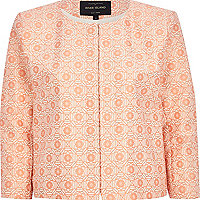 Orange floral tile print boxy cropped jacket
