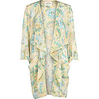 Cream floral print longline waterfall jacket