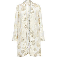 Cream foiled floral print duster jacket