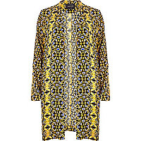Yellow tribal print duster jacket