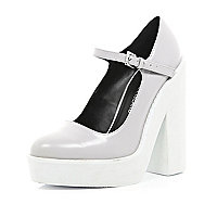 Light grey block heel mary jane platforms