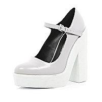 Light grey block heel mary jane platforms