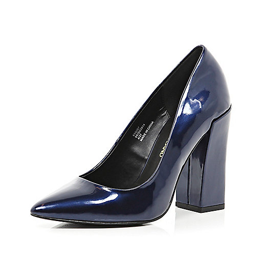Navy patent angular block heel court shoes