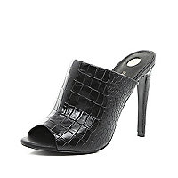 Black croc stiletto mules