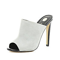 Light grey stiletto mules