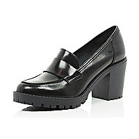 Black cleated sole block heel loafers