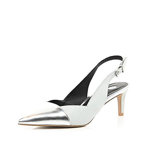 Silver toe cap sling back kitten heels