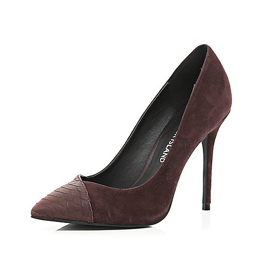 Dark red snake contrast toe cap court shoes
