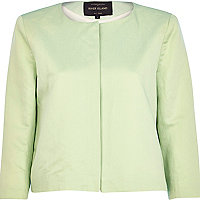 Light green boxy cropped jacket