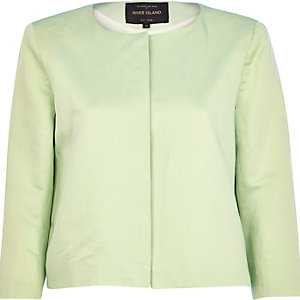Light green boxy cropped jacket